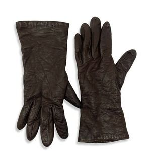 Henri Bendel Leather Gloves Cashmere Lined Size 7